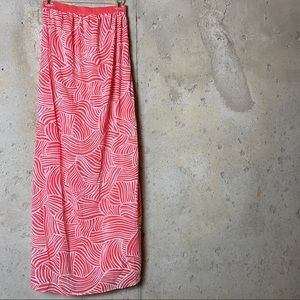 Old navy coral pink white abstract maxi skirt